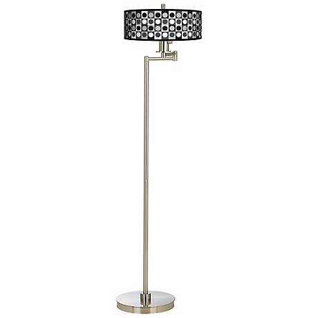 Black and Grey Dotted Squares Energy Efficient Floor Lamp