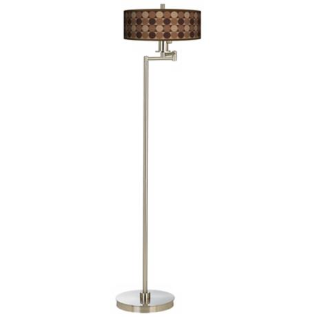 Sienna Grey Circles Brushed Steel Energy Efficient Floor Lamp