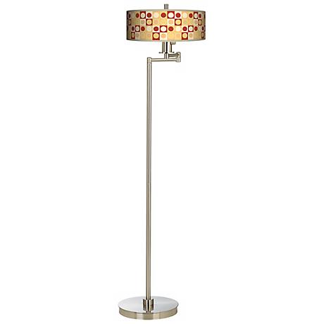 Stacy Garcia Spice Dahlia Giclee Shade Arc Floor Lamp
