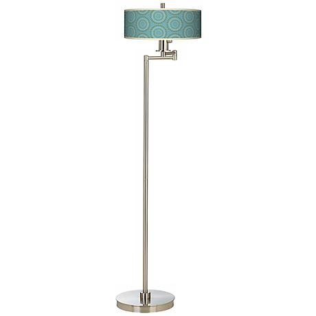 Blue Calliope Linen Giclee Swing Arm Floor Lamp
