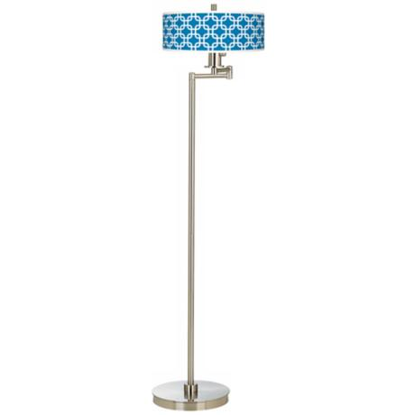 Blue Lattice Giclee Energy Efficient Swing Arm Floor Lamp