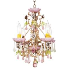 "Schonbek Opal Rose 13"" Wide Crystal Chandelier"