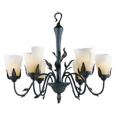 Las Cruces Collection 6 Light Iron Leaf Chandelier