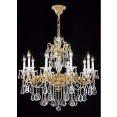 James R Moder Redding Gold 10-Light Large Crystal Chandelier