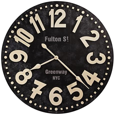 "Howard Miller Fulton Street 36""W Vintage Black Wall Clock"