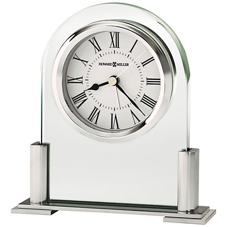 "Howard Miller Brinell III 5"" High Glass And Silver Clock"