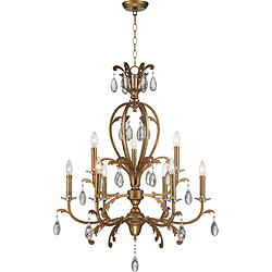 "Cendrillion 26 3/4"" Wide Gold Leaf 9-Light Tiered Chandelier"