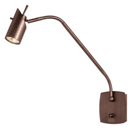 Halogen Gooseneck Bronze Plug-In Wall Lamp