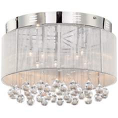 Silver Thread Drum Shade with Crystal Ceiling Light