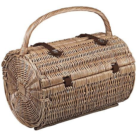 Barrel Natural Willow Two-Lid Picnic Basket