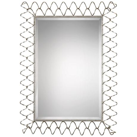 "Scipio Metallic Silver Leaf 33 1/2"" x 44 3/4"" Wall Mirror"
