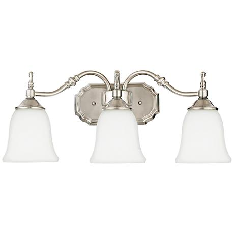 "Tritan Nickel Finish 22"" Wide Three Light Bathroom Fixture"