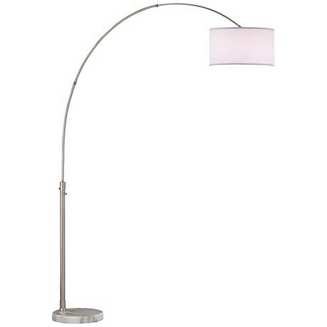 Nova Arcing Linen Shade Arc Floor Lamp