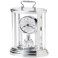 "Amesbury II Silver Finish 8 1/4"" High Bulova Carriage Clock"