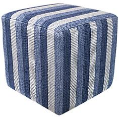 Landry Denim Landscapes Cotton Square Pouf Ottoman