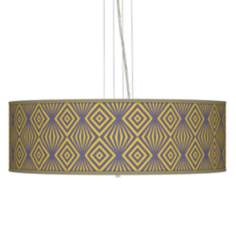 "Deco Revival Giclee 24"" Wide Four Light Pendant Chandelier"