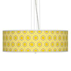 "Honeycomb Giclee 24"" Wide Four Light Pendant Chandelier"