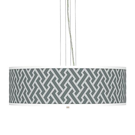 "Smoke Brick Weave Giclee 24""W 4-Light Pendant Chandelier"