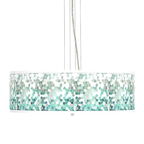 Aqua Mosaic Giclee 24 Quot Wide 4 Light Pendant Chandelier