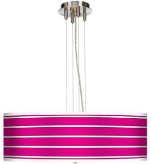 Bold Pink Stripe 24 Wide 4-Light Pendant Chandelier (17276-H9866)