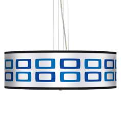 "Blue Rectangles 24"" Wide 4-Light Pendant Chandelier"