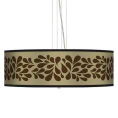 "Brown Splash on Tan 24"" Wide 4-Light Pendant Chandelier"
