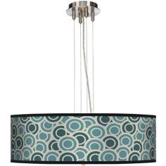 "Blue and Green Circlets 24"" Wide 4-Light Pendant Chandelier"