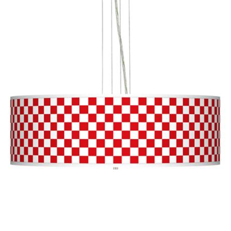 "Checkered Red 24"" Wide Four Light Pendant Chandelier"