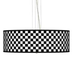 "Checkered Black 24"" Wide Four Light Pendant Chandelier"