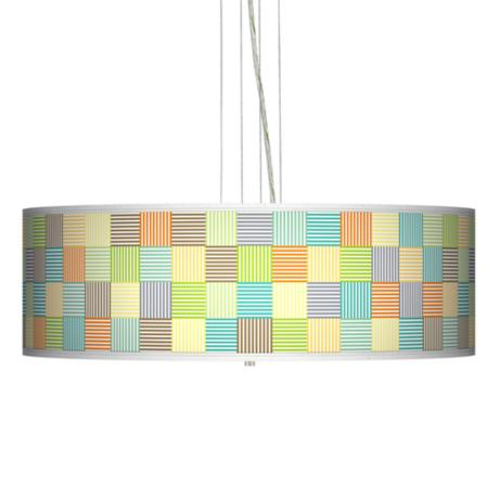 "Pixel Light Giclee 24"" Wide Four Light Pendant Chandelier"
