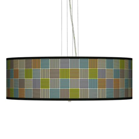 "Pixel City Giclee 24"" Wide Four Light Pendant Chandelier"