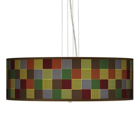 "Pixel Forest Giclee 24"" Wide Four Light Pendant Chandelier"