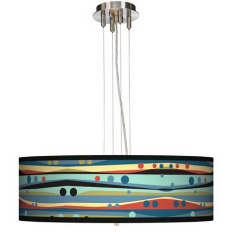 "Retro Dots & Waves  24"" Wide 4-Light Pendant Chandelier"