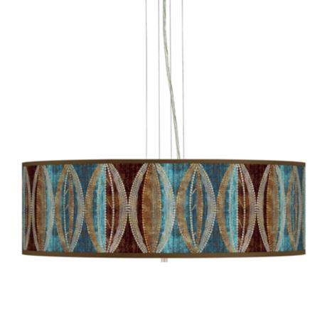 "Stacy Garcia Pearl Leaf Peacock 24"" Wide Steel Pendant Light"