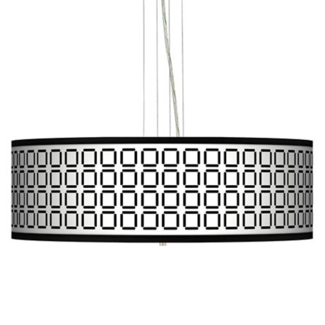 "Open Grid Giclee 24"" Wide 4-Light Pendant Chandelier"