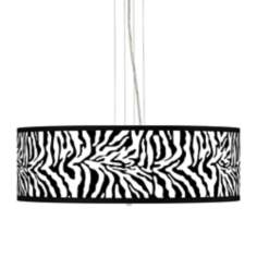 "Safari Zebra 24"" Wide 4-Light Pendant Chandelier"