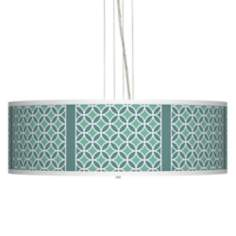 "Aqua Rings Giclee 24"" Wide 4-Light Pendant Chandelier"