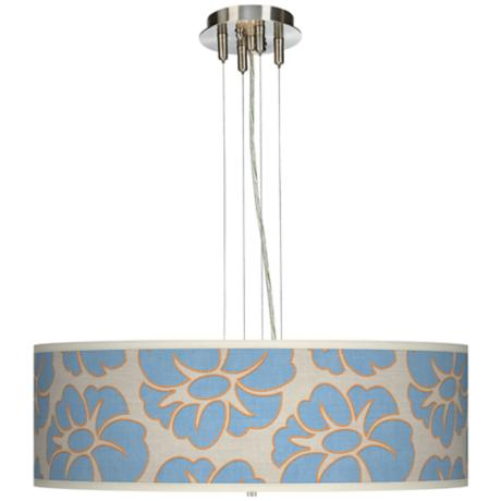 "Floral Blue Silhouette 24"" Wide 4-Light Pendant Chandelier"