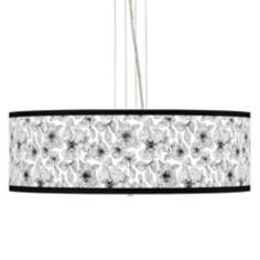 Stacy Garcia Linear Floral Giclee 4-Light Pendant Chandelier