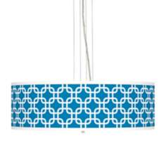 "Blue Lattice Giclee  24"" Wide Four Light Pendant Chandelier"
