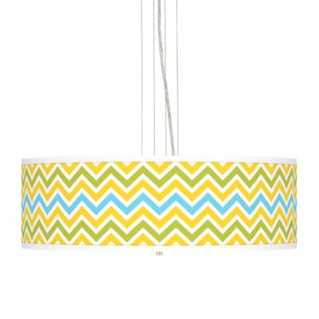 "Citrus Zig Zag  24"" Wide Four Light Pendant Chandelier"