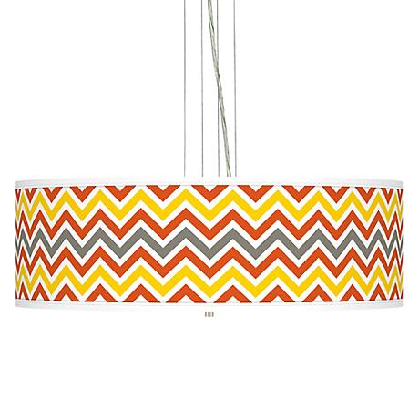 "Flame Zig Zag  24"" Wide Four Light Pendant Chandelier"