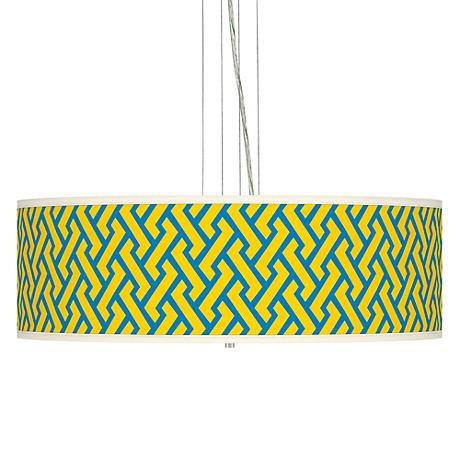 "Yellow Brick Weave  24"" Wide Four Light Pendant Chandelier"