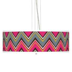 "Stacy Garcia Chevron Pride Pink 24""W 4-Light Pendant Light"