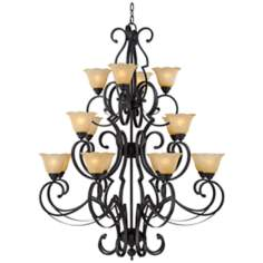 Scroll Arm Matte BlackFinish Three Tier Chandelier