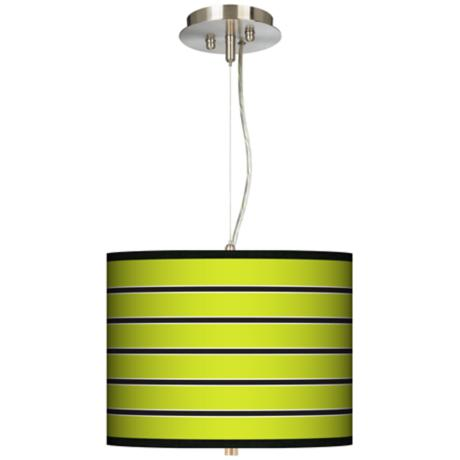 "Bold Lime Green Stripe 13 1/2"" Wide Pendant Chandelier"