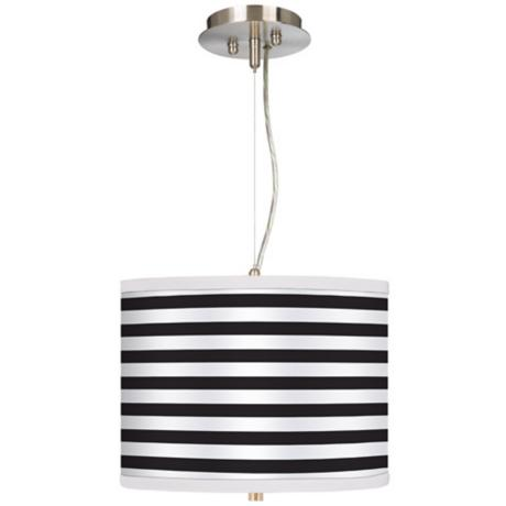 "Black Horizontal Stripe 13 1/2"" Wide Pendant Chandelier"