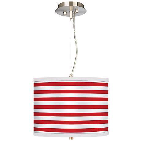 "Red Horizontal Stripe 13 1/2"" Wide Pendant Chandelier"