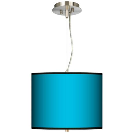 "All Aqua Giclee 13 1/2"" Wide Pendant Drum Chandelier"