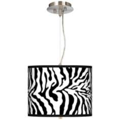 "Safari Zebra Giclee 13 1/2"" Wide Pendant Chandelier"